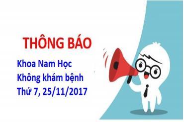 Thông báo Khoa Nam học không khám bệnh ngày 25/11/2017